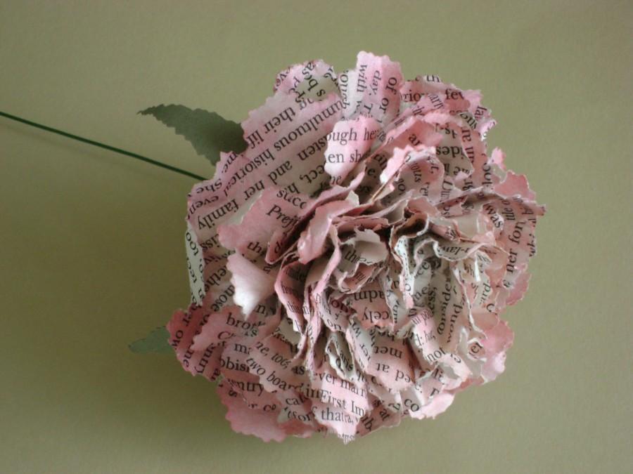 Свадьба - book page paper flower pink carnation  can be Jane Austen Harry Potter Jane Eyre any book