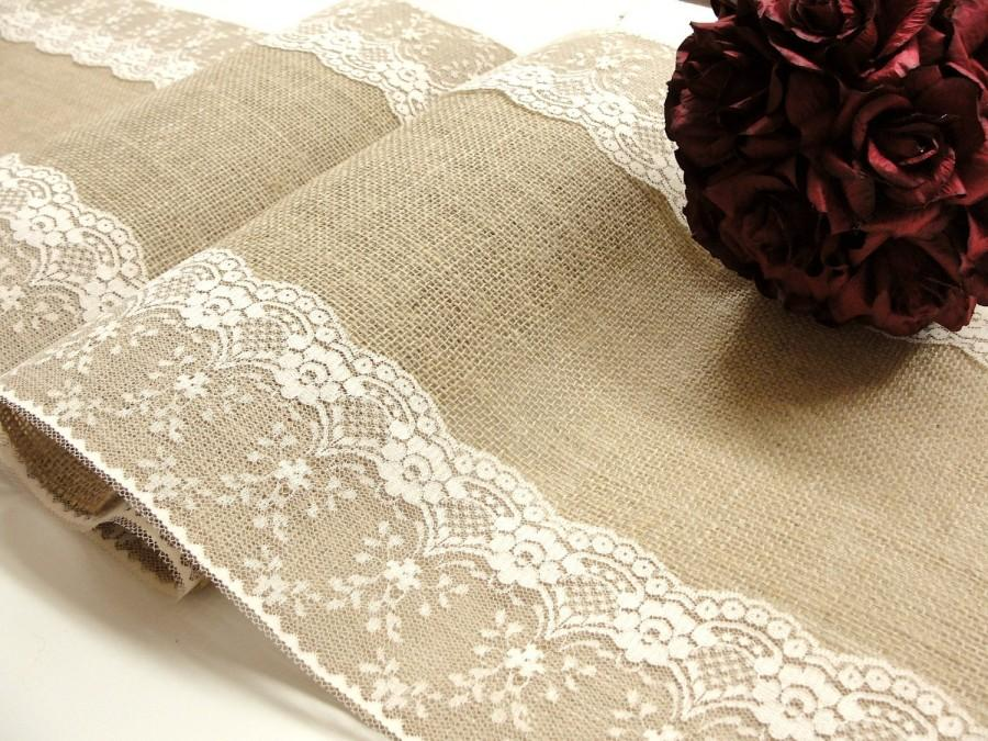 Mariage - Burlap and lace table runner country wedding lace table top wedding decor Handmade in the USA