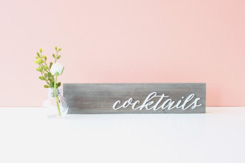 Свадьба - Wedding Cocktails Sign: free-standing solid wood calligraphy cocktails sign (driftwood grey + white)