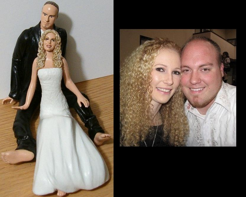 custom wedding cake toppers figure set personalized to look like bride groom from your photos