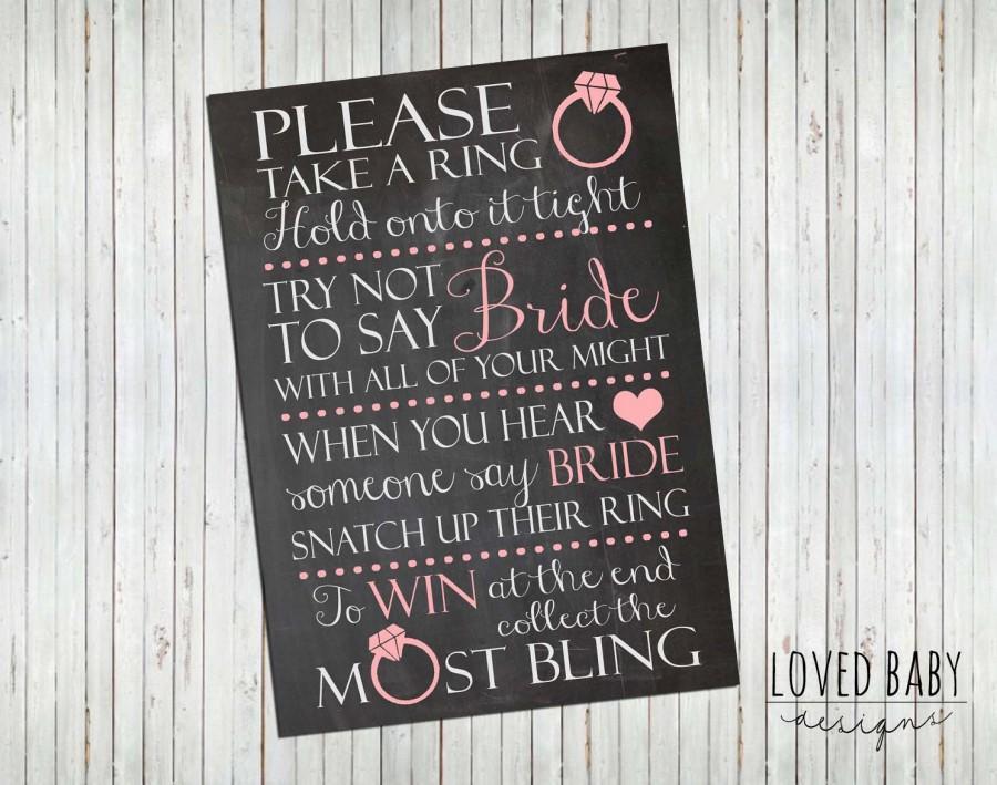 "Wedding - Bridal Shower Game Sign - Instant Download, 8x10"", 5x7"", Chalkboard Printable"
