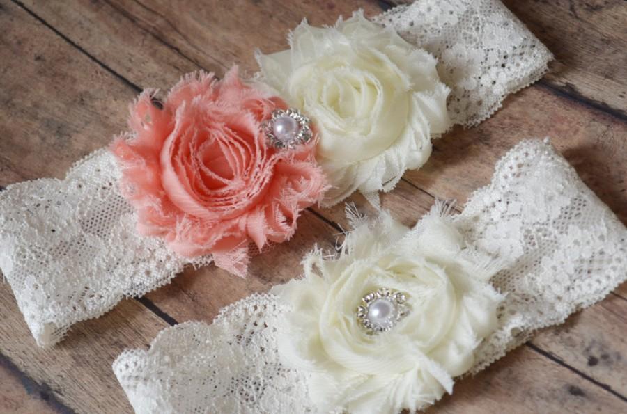 Mariage - PEACH wedding Garter Set -  Wedding Garter, Ivory Bridal Garter something blue - Garter  plus size Garter - Toss Garters - Chiffon flower