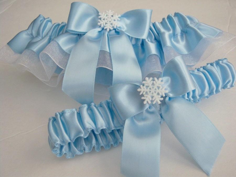 Mariage - Light Blue Garter Set/Winter Themed Garter Set/Snowflake Garter Set/Light Blue Wedding Garter Set/Winter Themed Garter Set/Light Blue  White