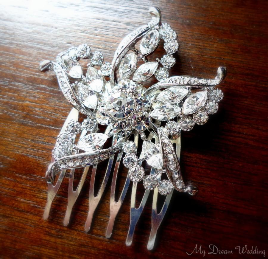 Mariage - Starfish Comb. Original Australian rhinestones Crystals on a Small silver comb.Choose Silver or Gold - STARFISH COLLECTION-402