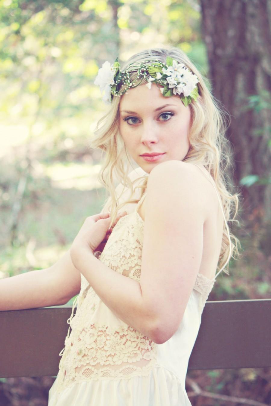White Bridal Flower Crown, Spring Flower Head Piece, Wedding Hair ...
