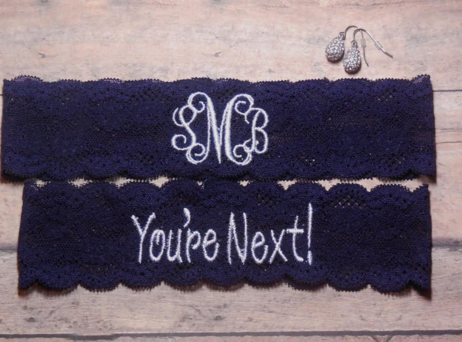 Mariage - Monogrammed Garter, Monogram, Personalized Garter, Custom Garter, Navy Blue Garter, Blue Garter, Something Blue, You're Next Garter, Wedding