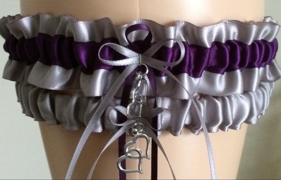 Hochzeit - Silver and Purple (Plum) Wedding Garter Set, Bridal Garter Sets, Prom Garter, Keepsake Garter