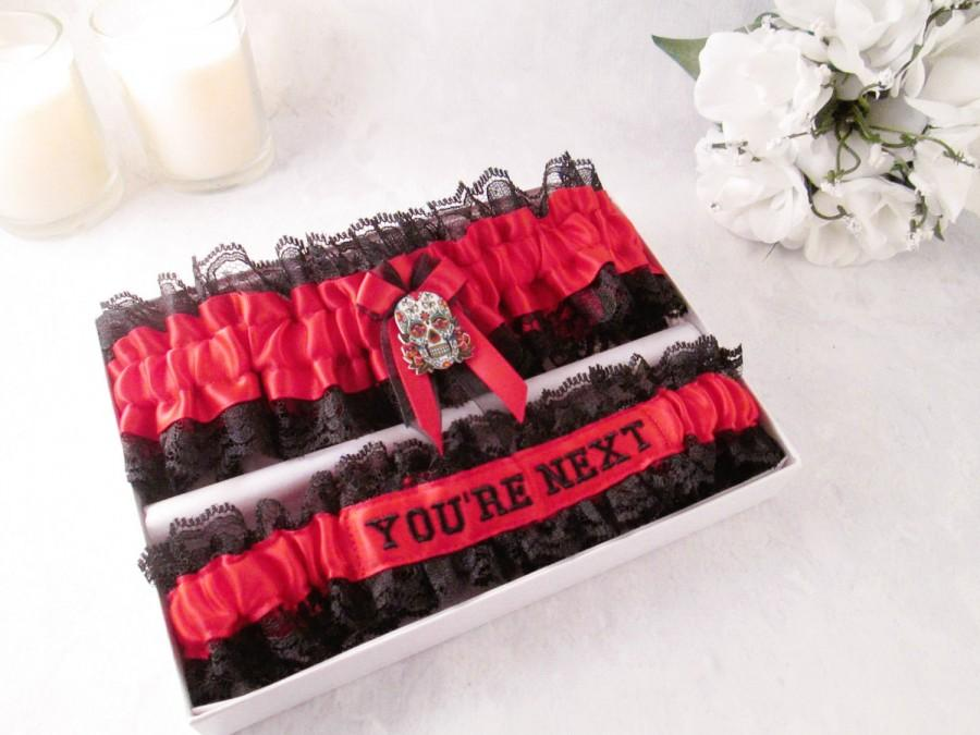 Свадьба - Sugar Skull garter set - Day of the Dead garters - Mexican Holiday Garters - Custom Wedding Garters.