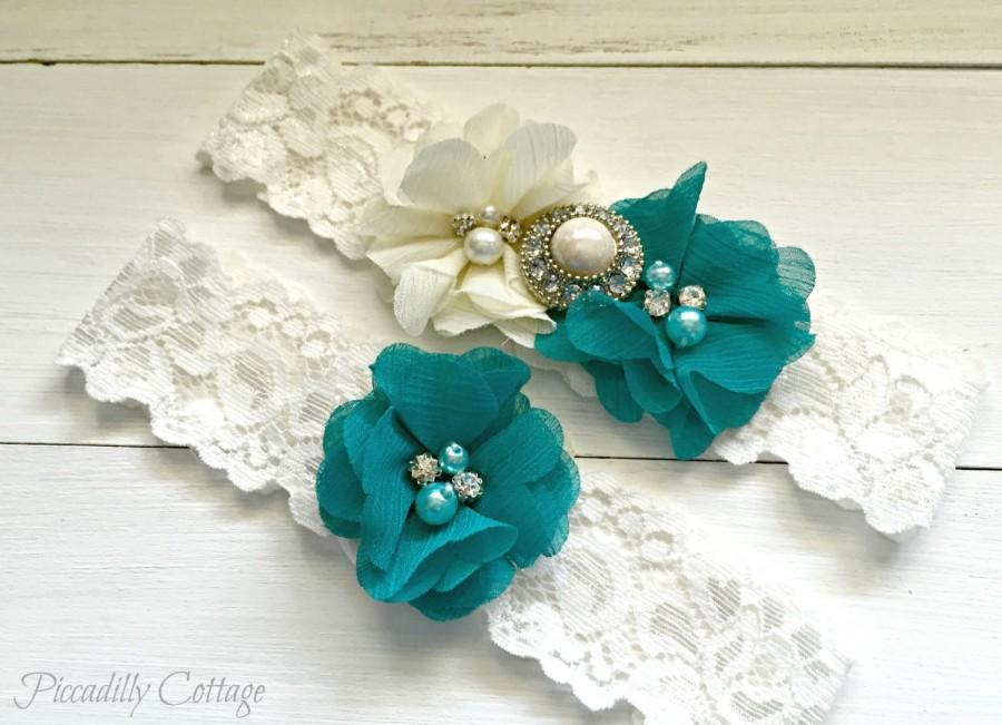 Свадьба - Teal Wedding Garter, Wedding Garter Set, Bridal Garter, Lace Garter, Custom Garter, Toss Garter Included