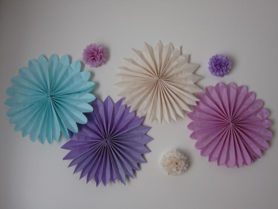 Mariage - 3 to 5 Tissue paper PINWHEELS-medallions-fan flowers**U pick quantity, colors & sizes **Wall decal**tissue paper decorations*background prop
