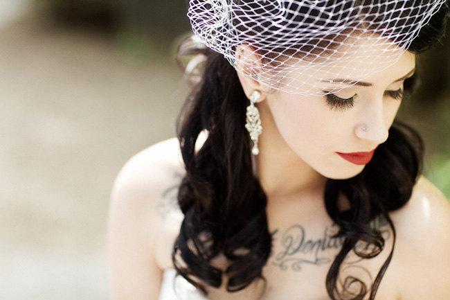 """زفاف - Bridal Birdcage Veil w/ Silver Comb, Blusher Veil, Russian Tulle, French Net Lace, 9"""" (or)  12"""""""