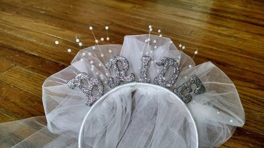 """Mariage - White & Silver Glitter """"Bride"""" Headband with Veil, Pearl Accent Sprays, and Rhinestones"""