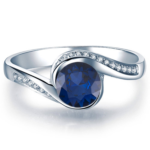 Mariage - Blue Sapphire Engagement Ring 14k White Gold with Diamonds September Birthstone