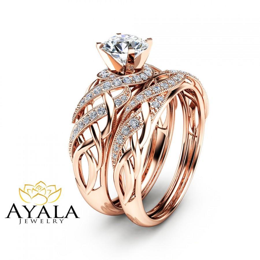 Diamond Bridal Set In 14k Rose Gold Unique Engagement