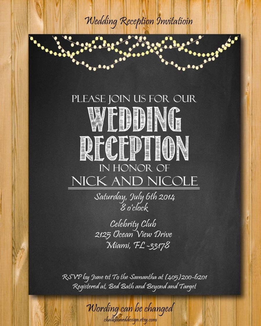 Mariage - Printable wedding reception invitation, Wedding invitation, custom chalkboard invite, reception invite