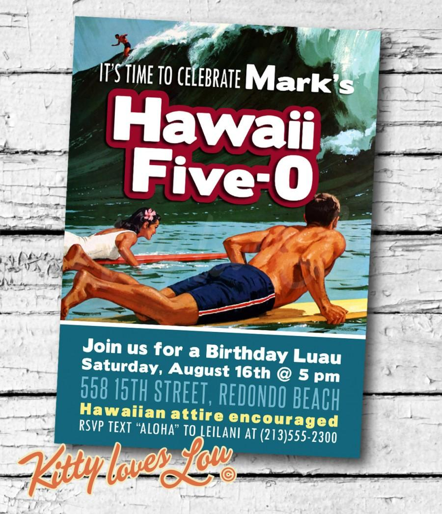 PRINTABLE Hawaii Five 0 50th Birthday Party Invitation Digital PDF Anniversary Fiftieth Retro Luau Surfer Hawaiian BBQ Invite 5 X 7 Diy