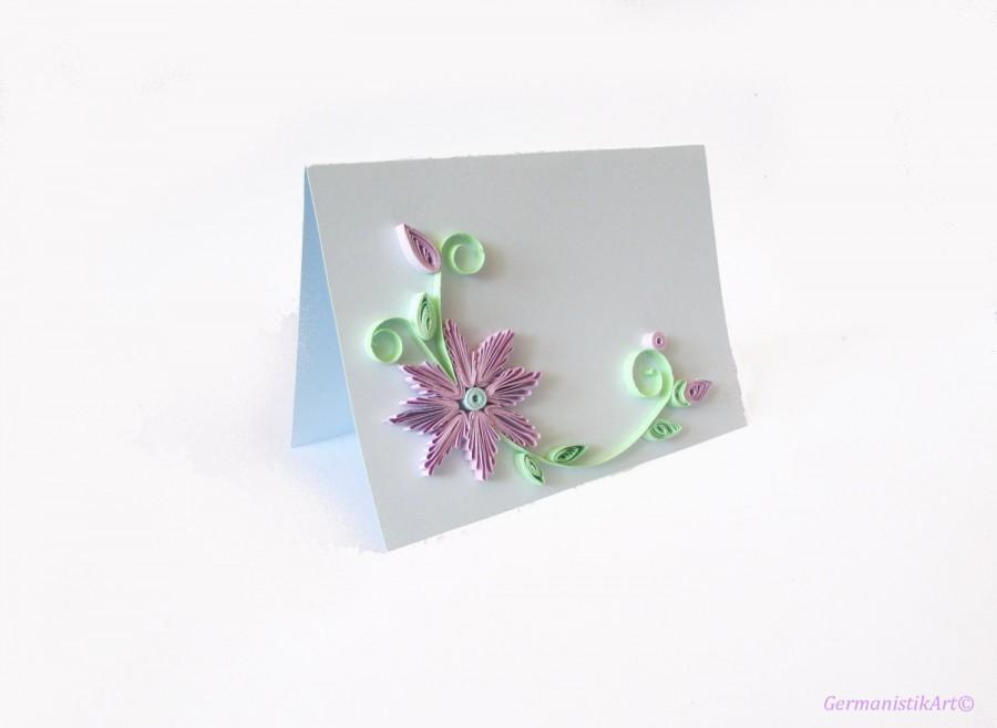 Свадьба - Pastel Blue Wedding Invitation Set, 10 Wedding Card Set, Quilled Announcement Card