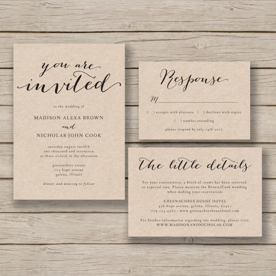Printable Wedding Invitation Template Rustic Invitation Suite DIY - Wedding invitation templates: wedding invitation suite templates