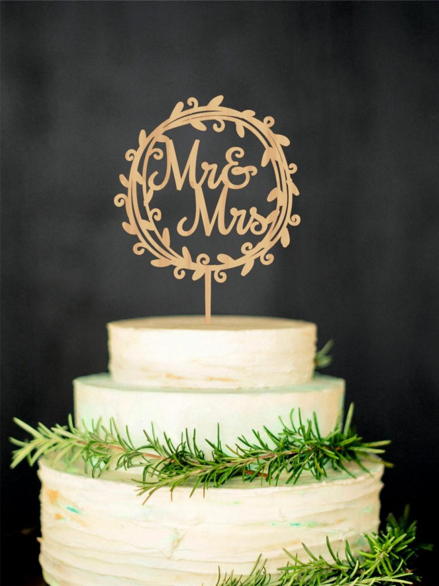 Hochzeit - Mr Mrs Wedding Cake Topper Rustic Mr and Mrs Cake Topper Wooden Cake Topper Wreath Cake Topper