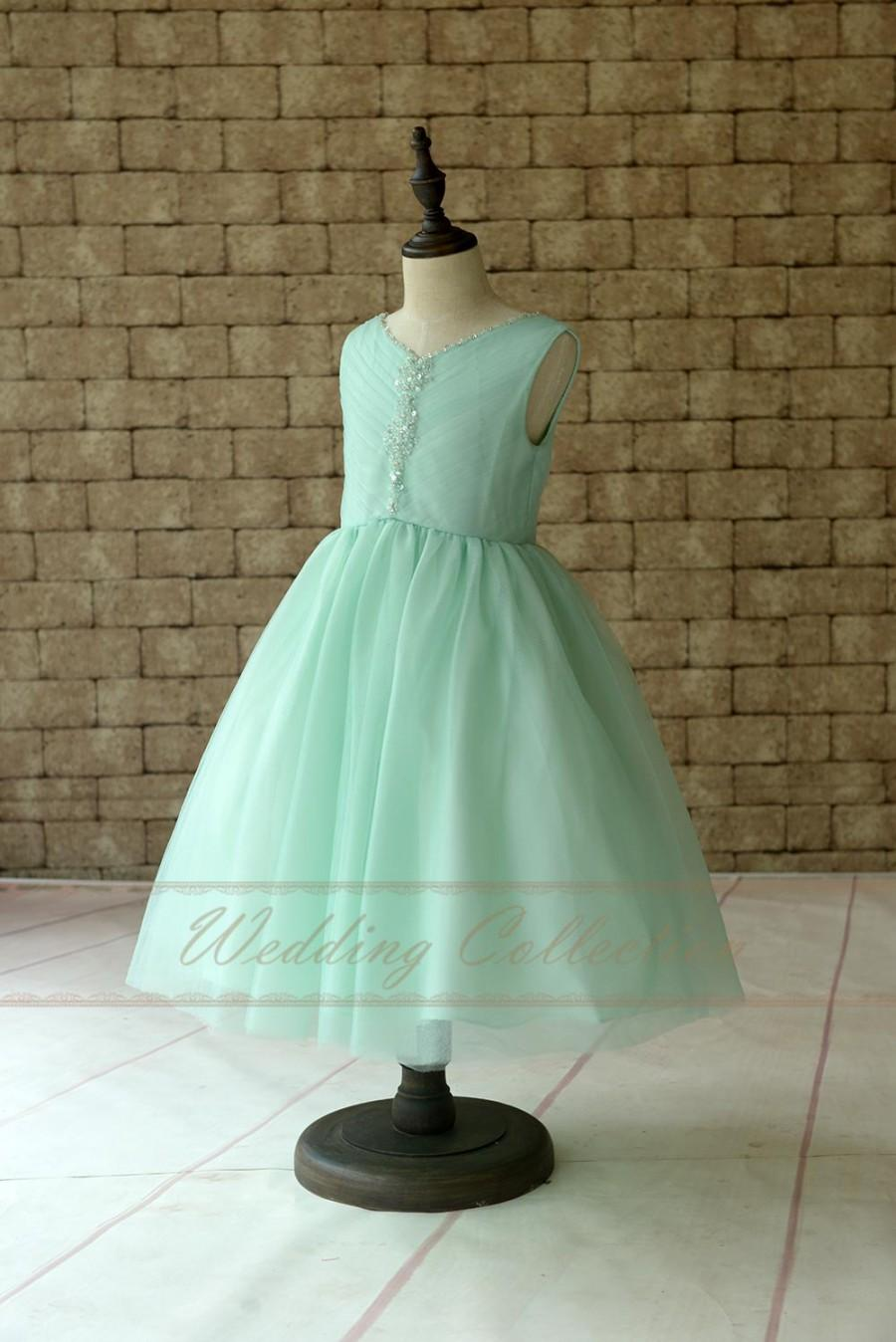 Mariage - Mint Flower Girl Dress, Beaded Tulle Flower Girls Dresses V neckline