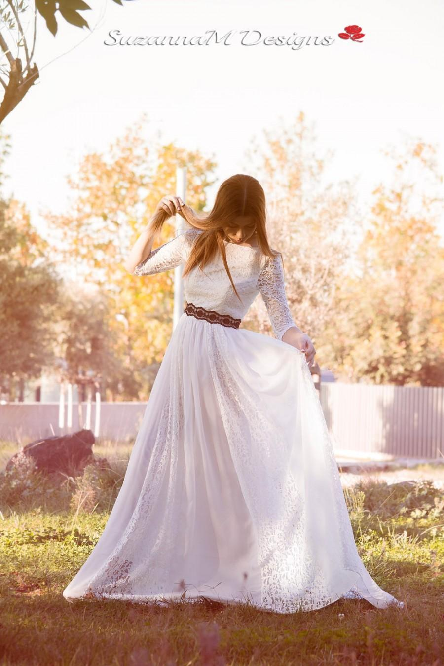 Hochzeit - Lace Wedding Dress, Ivory Wedding Gown,Bohemian Wedding Dress,Long Bridal Gown,long Sleeve Dress,Chiffon Wedding Dress by SuzannaM Designs