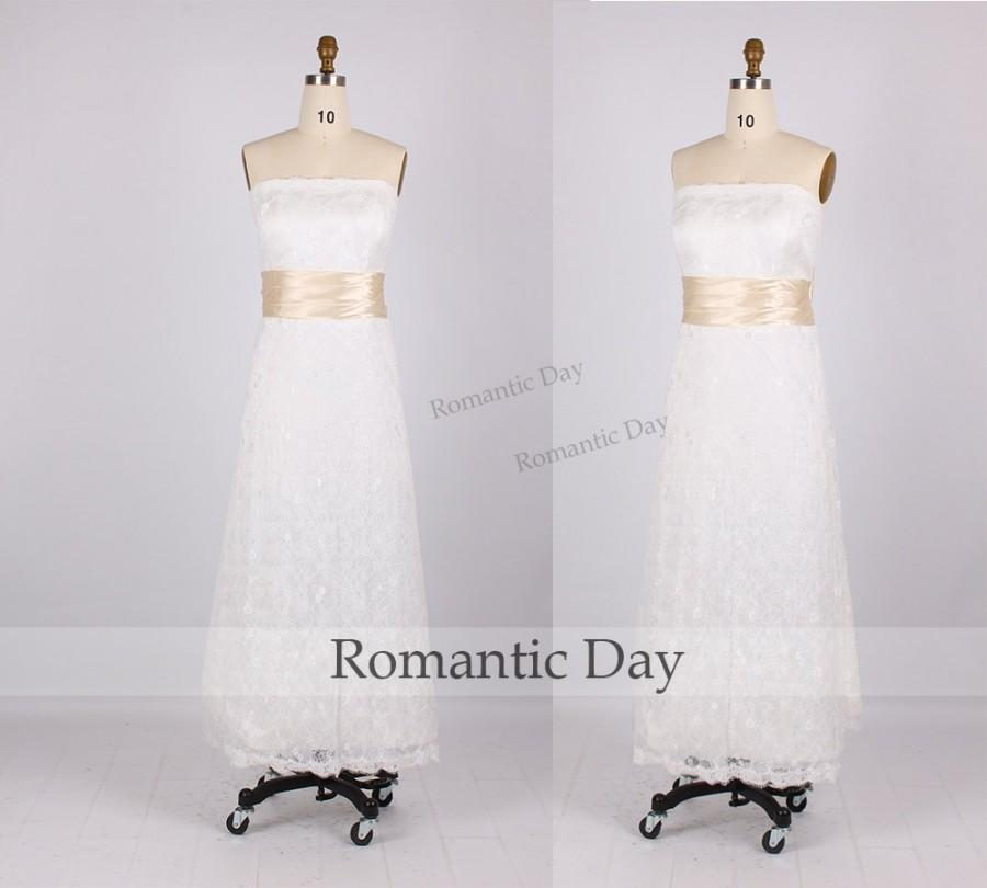 Hochzeit - White Strapless Ribbons A-Line Tea length Lace Wedding dresses/short white lace dress/plus size dress/simple dress 0235C