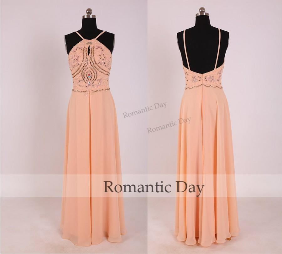 Hochzeit - Women Sexy Halter Beading Backless Long Chiffon Prom Dress/Sexy Long Prom Dress/Custom Made Dress 0361