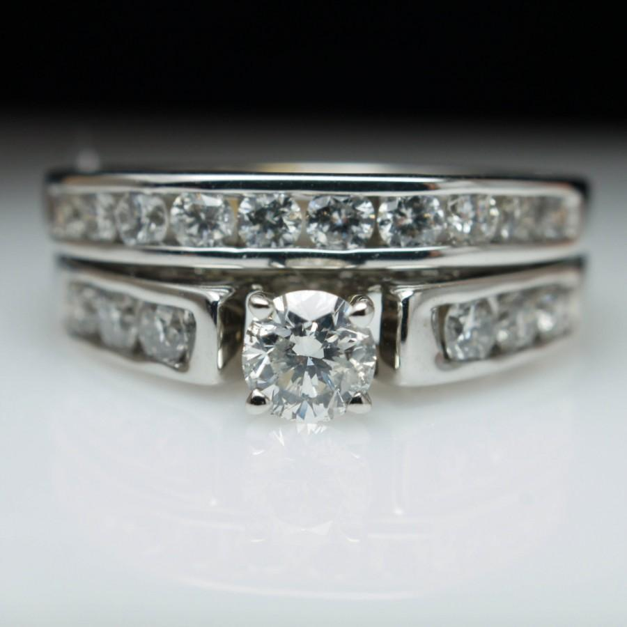Vintage 1.09ctw Bridal Set Diamond Engagement Ring & Wedding Band ...