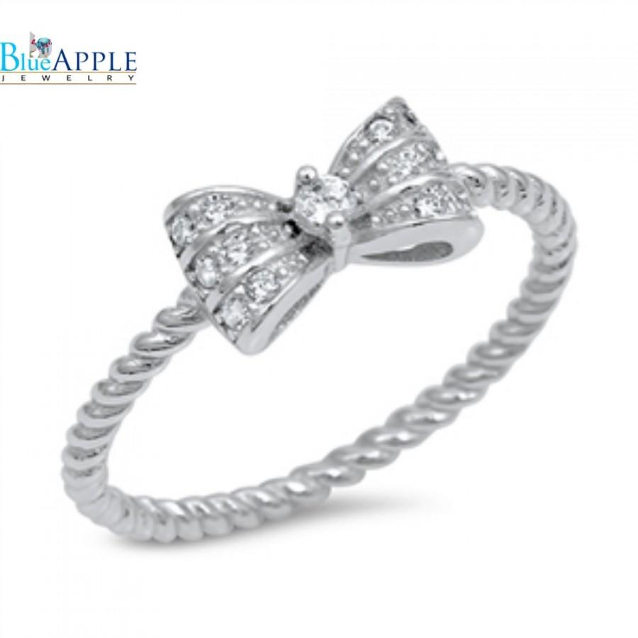 trendy cute ribbon bow ring solid 925 sterling silver
