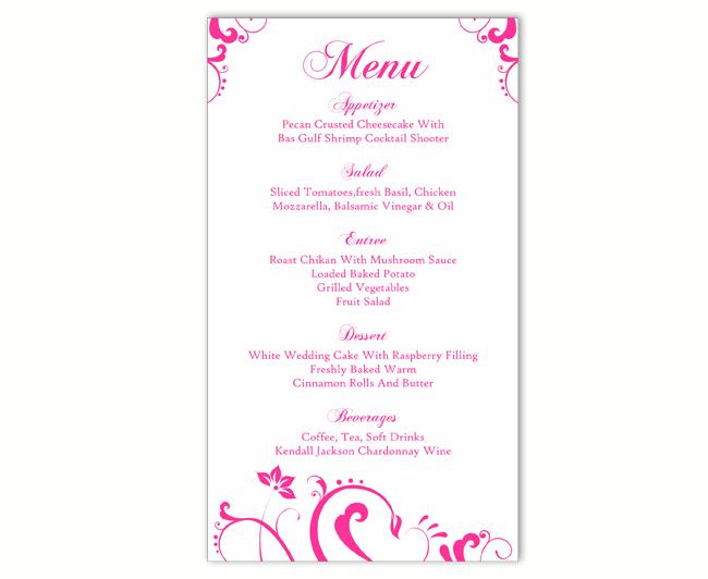 Soft pink wedding invitation and menu template | free vector.