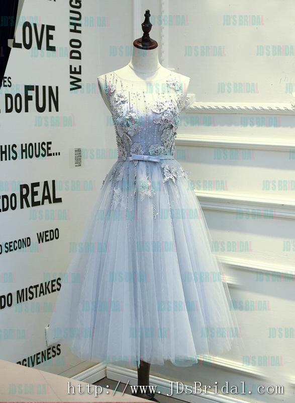 Mariage - PD16017 2016 tea length dusty blue grey backless tulle homecoming prom dress