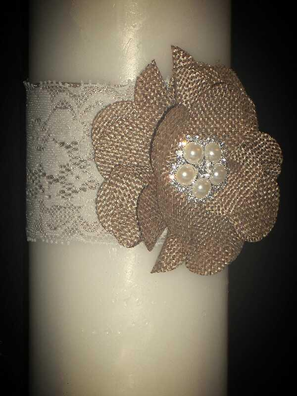 Mariage - Unity Candle Wrap Set: Burlap, Pearls, and Lace   FREE SHIPPING!!!