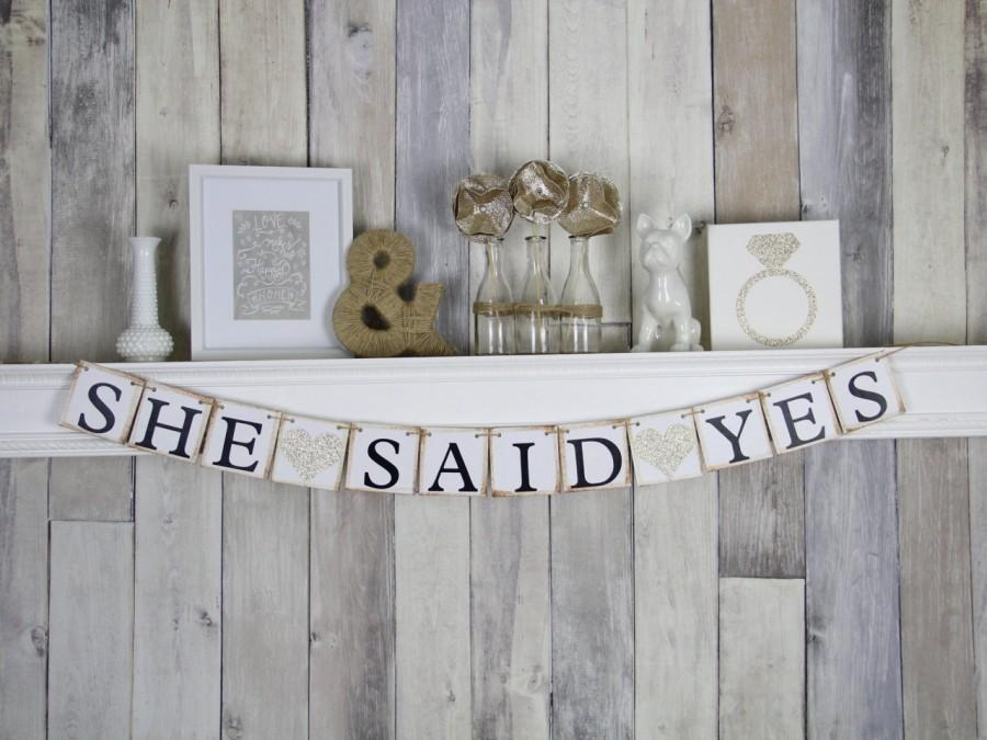 Mariage - Engagement party Banner, Engagement Party Idea, She Said Yes Banner, Bridal Shower Banner, Hens Party