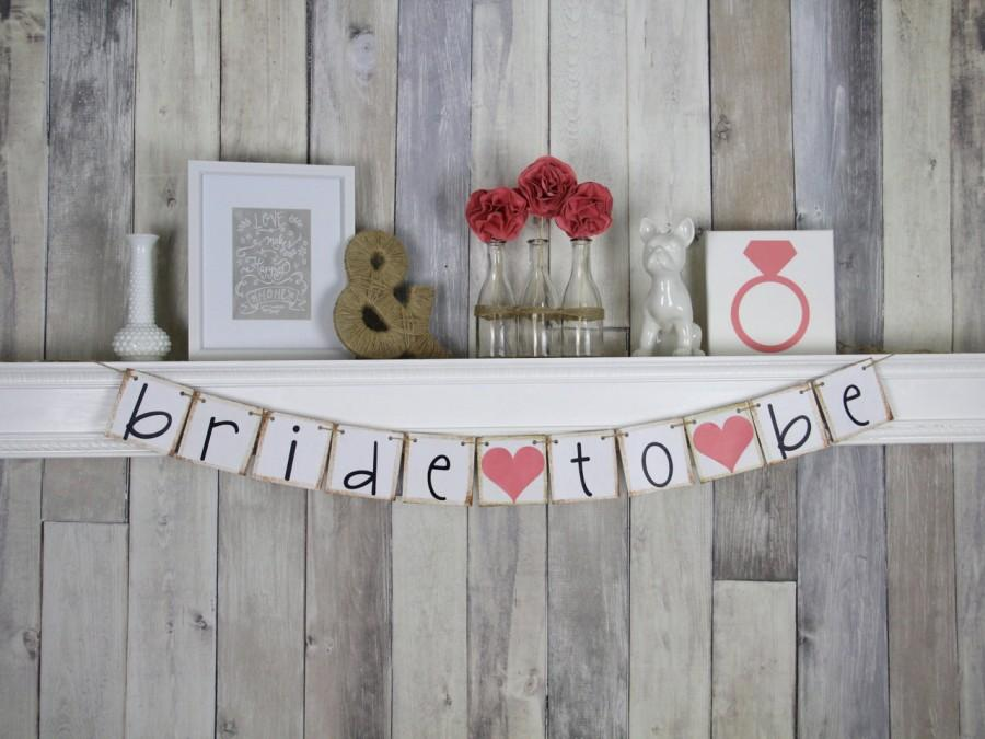 Mariage - Bride To Be Banner - Bridal Shower Decorations - Bachelorette Party - coral - hens party