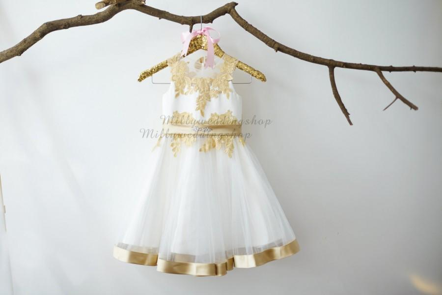 Свадьба - Champagne Gold Lace Ivory Tulle Flower Girl Dress Junior Bridesmaid Wedding Party Dress