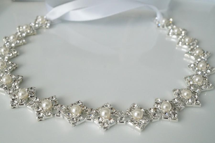 Mariage - Wedding Hair Accessory, Beaded Headband, Bridal Headband, Crystal Ribbon Headband