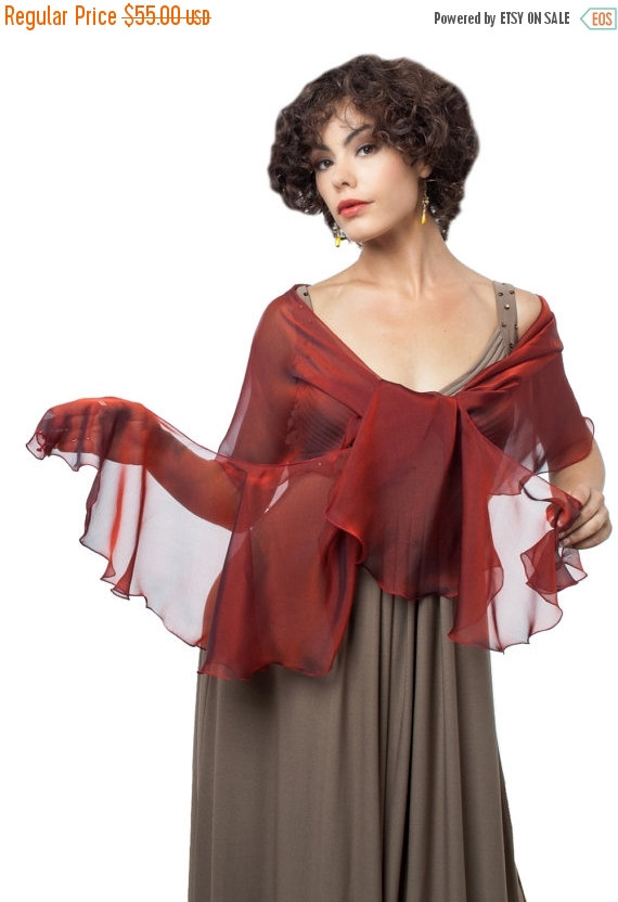 Mariage - Promo Sale Evening Dark Red Silk Wrap