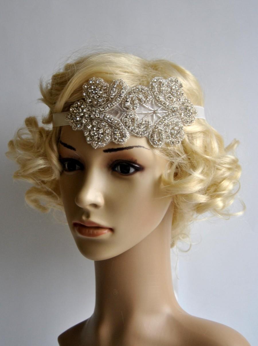 Mariage - Rhinestone flapper Gatsby Headband, Wedding Headband,Crystal Headband, Wedding Headpiece, Halo Bridal Headpiece, 1920s Flapper headband
