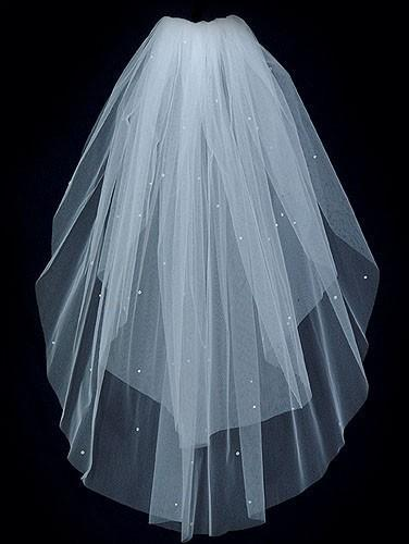 Mariage - 2 Tier Elbow length Bridal Veil Sprinkled with Swarovski Rhinestones featuring a Plain Cut Edge