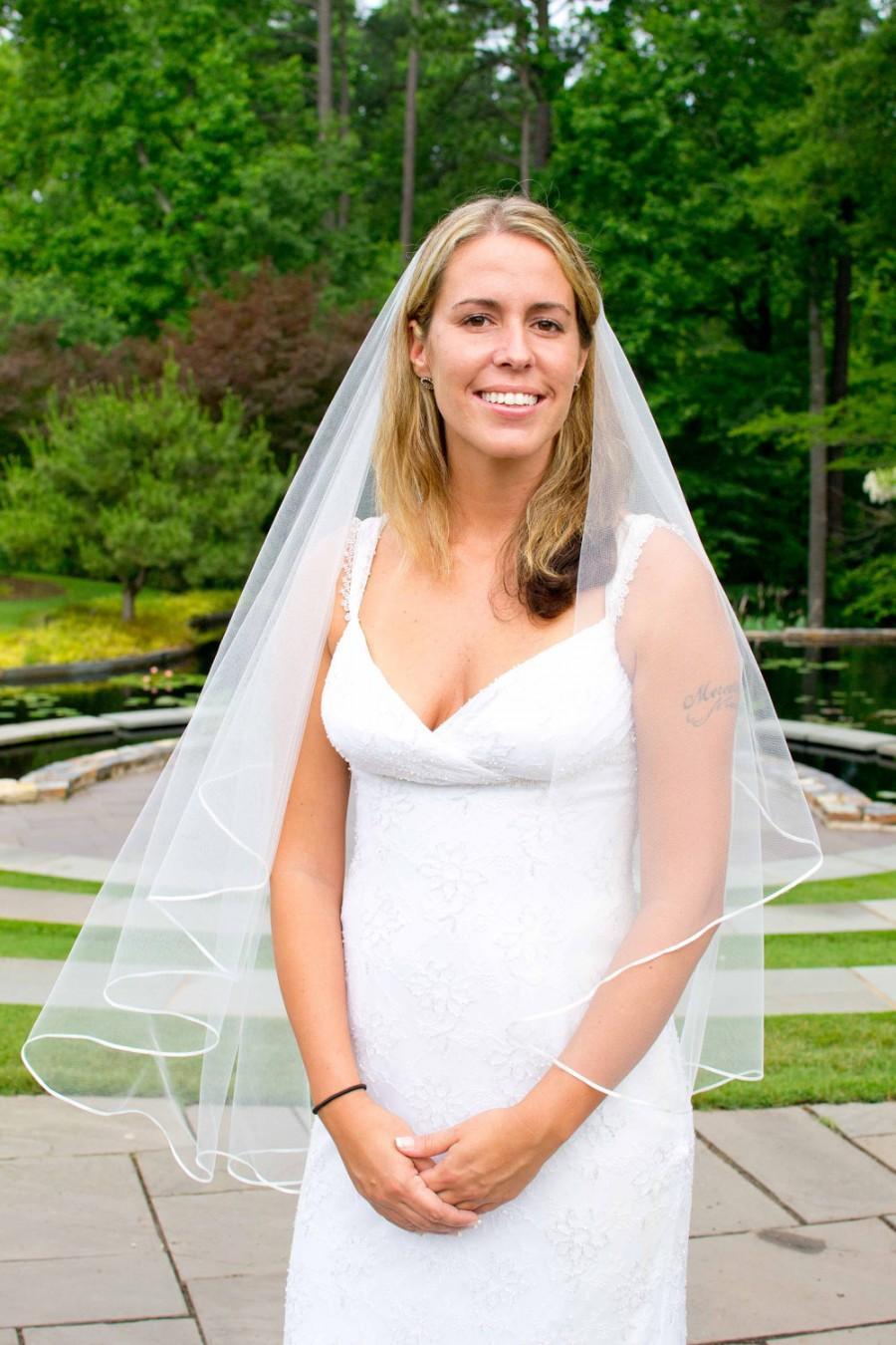 Wedding - Wedding veil - 20 x 40 circular cut drop bridal veil with satin ribbon trim