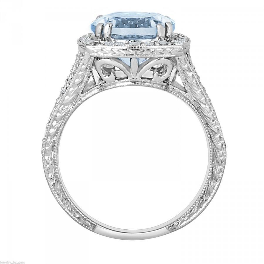 Platinum Aquamarine & Diamond Engagement Ring 2 90 Carat Antique Vintage
