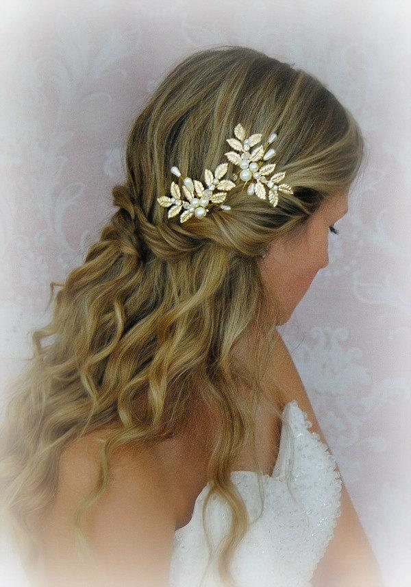 Mariage - Gold Leaves Hair Pins, Wedding Hair Pins with Pearls, Crystals, Fern Leaf, Greek Goddess, Bobbies, Boho Pin Set - CALISTA