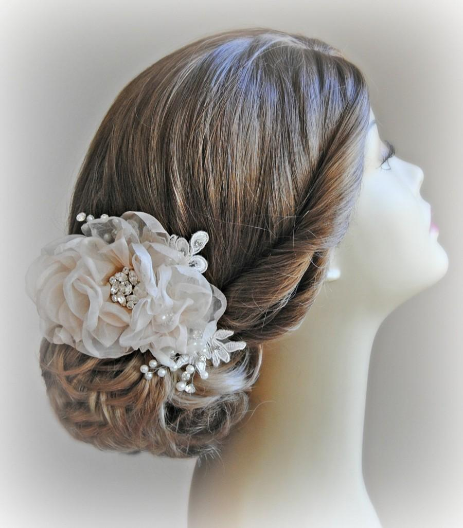 Свадьба - Romantic Wedding Hair Flowers, Bridal Hair Piece, Head Piece, Crystals, Pearls, Silver, Gold, Rose Gold - ECHO