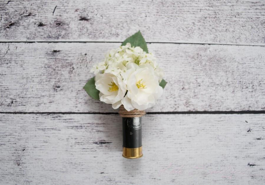 Mariage - Shotgun Shell Wedding Boutonniere with Ivory Peonies and Hydrangeas