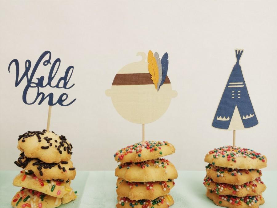 زفاف - BOHO Cupcake toppers Set of 12// Pow Wow Birthday or Baby Shower//Boho chic Baby, Teepee, Wild One Toppers/Bohemian Party Food Picks