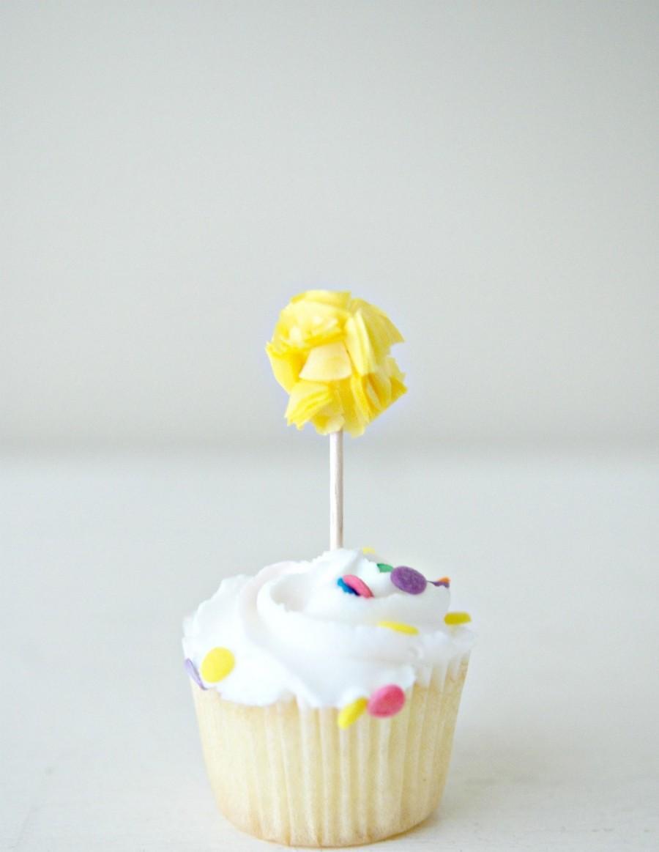 Hochzeit - RESERVED Custom Mini Pom Food Picks  (Set of 12)