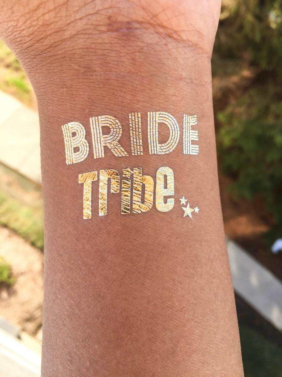 Hochzeit - FREE SHIPPING Temporary Tattoo Favor, Set of 10 Bachelorette party favor,bride tribe tattoo,bachelorette tattoo,gold tattoo, party tattoo