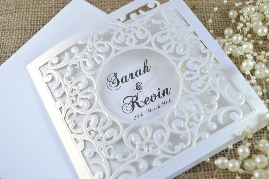 laser cut wedding invitation, white laser cut wedding invitation, Wedding invitations