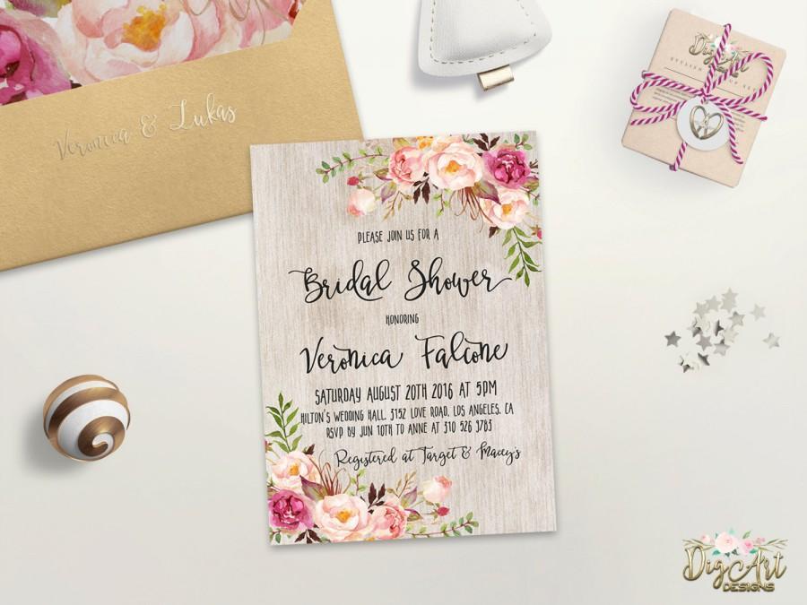 Floral Bridal Shower Invitation Printable Spring Bridal Shower