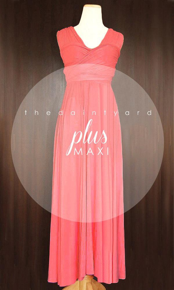Maxi Plus Size Coral Bridesmaid Dress Convertible Dress Infinity